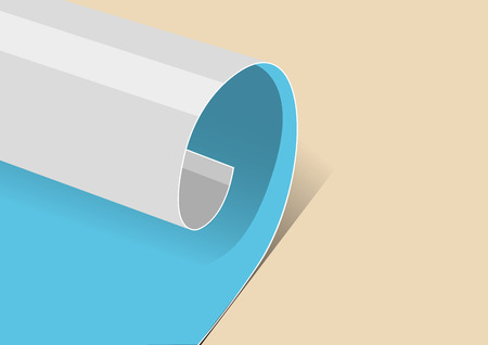 Paper sheet page curl in flat vector cartoon style. Çizim