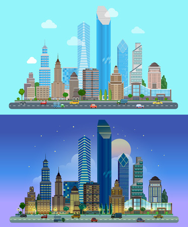 Flat cartoon skyscraper business city set day and night. Road highway avenue transport street traffic before line of buildings skyscrapers business center offices. Urban life lifestyle collection.