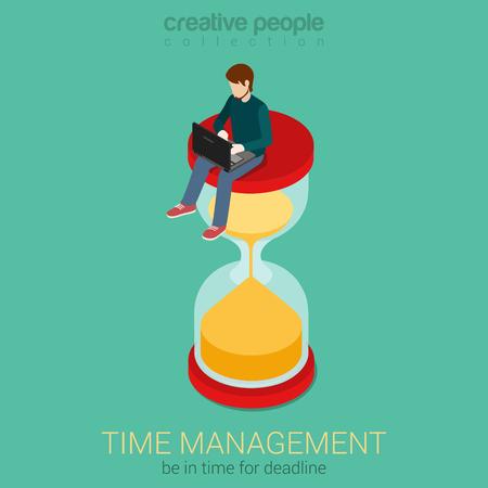 reloj de arena: El tiempo es dinero 3d concepto de negocio Web infografía isométrica plana Vectores