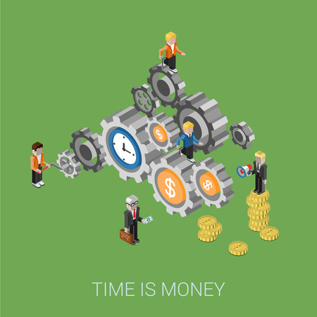 resource: Flat 3d isometric style modern time is money, teamwork, workforce staff web site infographic concept. Conceptual illustration business people on cog wheels. Time and coins as parts of process.