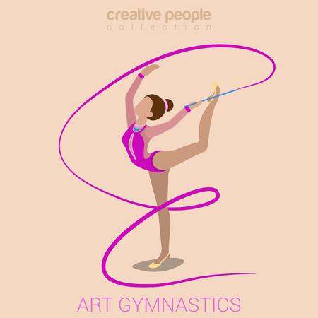 gimnasia: las mujeres se divierten el rendimiento en el ejercicio de entrenamiento de gimnasia plana Web 3d isom�trica del vector de infograf�a. Ni�a en la alfombra con la cinta de gimnasia. Deportes creativa colecci�n de la actividad.