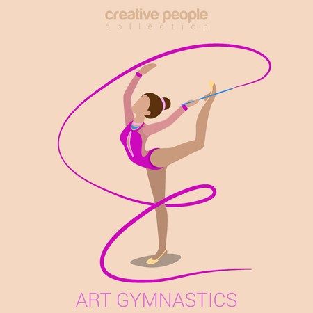 Sports women art gymnastics workout exercise performance flat 3d web isometric infographic vector. Young girl on carpet with gymnastic ribbon. Creative people sports activity collection. Ilustracja