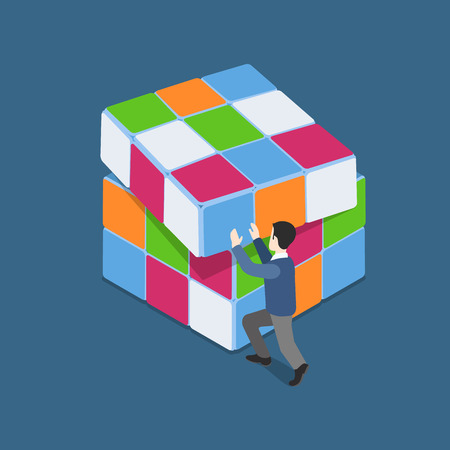 rubik: Flat 3d web isometric man plays with Rubiks Cube puzzle infographic solution concept vector. Small man pushing row. Strong, punchy, pushy, reasonable, rational lifestyle. Creative people collection. Illustration