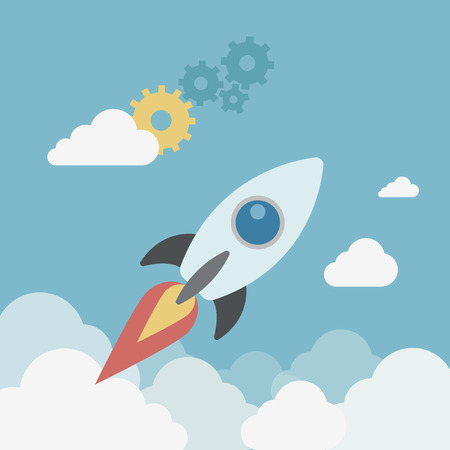 starting a business: Flat style modern business start up spaceship launch concept. Rocket flying in the sky, gears. Conceptual vector icon collage illustration of new project starting and in progress process.