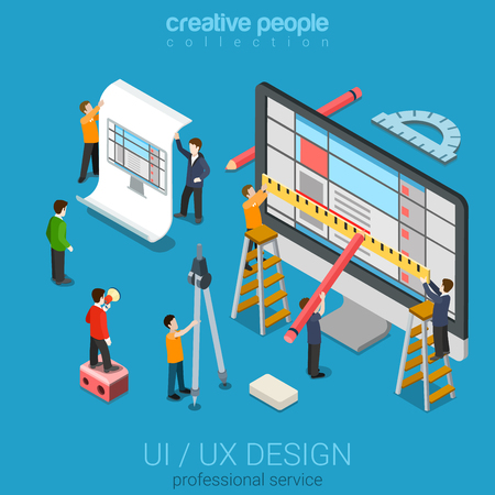 trabajando en equipo: Piso 3d isométrica escritorio UI  UX diseño web concepto infografía vector. Crane personas que crean micro interfaz en el ordenador. La experiencia del usuario de la interfaz, la usabilidad, la maqueta, el concepto de desarrollo de alambre.