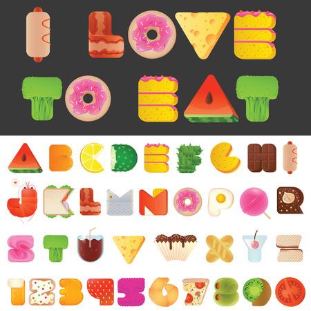 dulces: Cartas con estilo delicioso divertidas alimentos y números de fuente latina. Snack-A a la Z typeset colección alfabeto. Estilo moderno elementos tipografía todo el mundo le gusta comer. Vectores