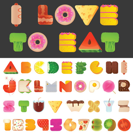 aliments droles: Lettres �l�gantes d�licieux dr�les alimentaires et les num�ros police latine. Snack A � Z compos?e collection alphabet. Style moderne �l�ments de typographie tout le monde aimerait manger.