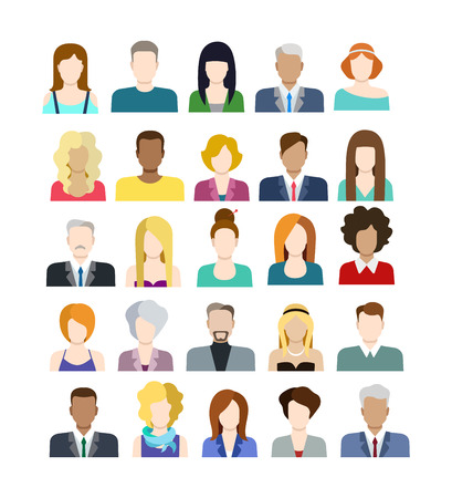 Set of casual stylish fashionable people icons in flat style with faces. Vector men and women character. Template concept collection for web profile avatar.  イラスト・ベクター素材