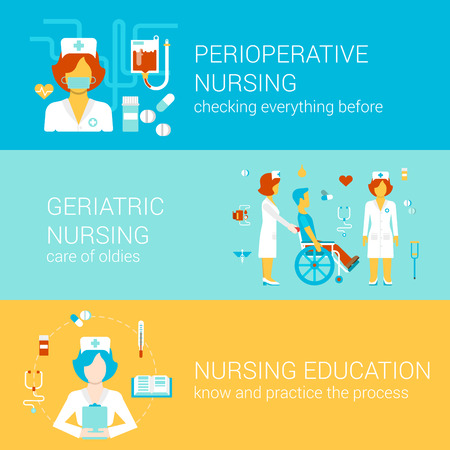 old nursing: Nursing medical concept flat icons banners template set perioperative geriatric education knowledge medicine female old people hospital vector web illustration website click infographics elements.