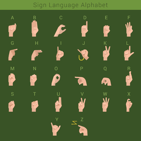 ok sign language: Sign deaf language hand gestures Latin English ABC. Hands showing letters of alphabet.