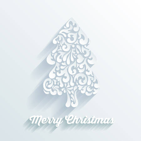 dingbat: Christmas fir tree decorative shape formed by abstract creative elements. Template for Merry Christmas and Happy New Year celebrations postcard. Illustration