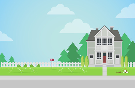family house: Flat style countryside family house with backyard lawn concept. Architecture design elements. Build your world collection. Illustration