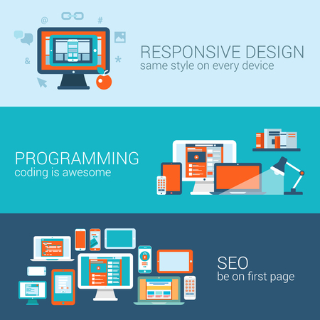 Web design programming SEO concept flat web banners template set. Responsive style css coding php javascript cms promote search engine optimization vector illustration website infographics elements.