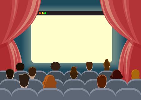 Online bioscoop horloge bioscoop lege scherm template mockup concept van platte web infographic vector. Groep mensen zitten voordat leeg browservenster interface. Creatieve mensen collectie. Stock Illustratie