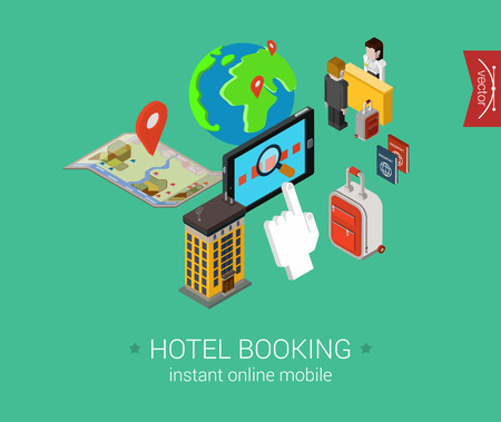 accomodation: Travel hotel booking flat 3d isometric pixel art modern design concept vector. Search, book, pay for accomodation online, check in, passport, visa. Web banners illustration and website infographics.