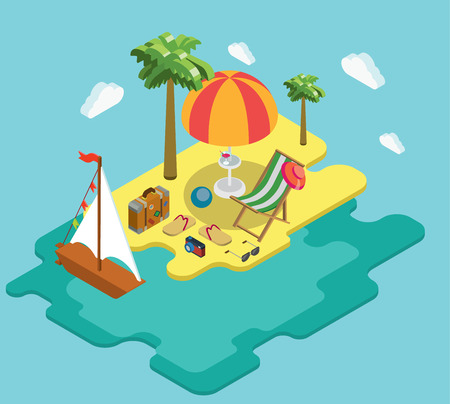 thongs: Beach sea ocean yacht summer vacation flat 3d isometric pixel art modern design concept vector. Palm island chaise lounge deck chair suitcase thongs. Web banners website infographics illustration.