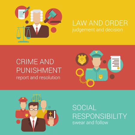 Droit avocat tribunal avocat juge shérif policier religion responsabilité sociale web plat bannière infographie illustration vectorielle de collecte de modèle bible.