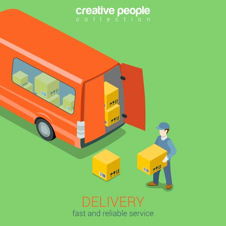 hombre: Servicio a domicilio van plana 3d web isométrica vector de concepto de infografía. Courier tiene caja antes de entregar las puertas traseras del camión. Colección de la gente creativa. Vectores