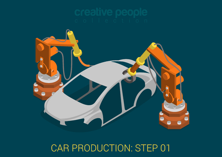 Car production plant process step 1 welding works flat 3d isometric infographic concept vector illustration. Factory robots weld vehicle body in assembly shop. Build creative people world collection.