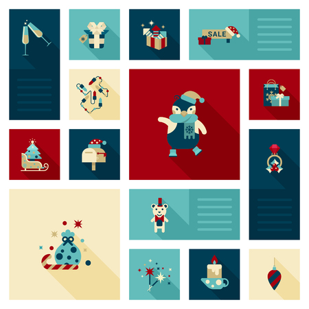 postbox: Flat modern style Christmas icon set. Penguin, sale, garland color light, postbox, bear, ring, candle, sparklers, champagne, sledge, present bag, gift box decorations. Holiday web icons collection.
