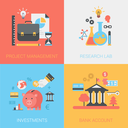 method: Project management, research lab, investments, bank account concept. Briefcase, hourglass, flask, bulb, piggy bank. Vector icon banners template set. Web illustration. Website infographics elements.