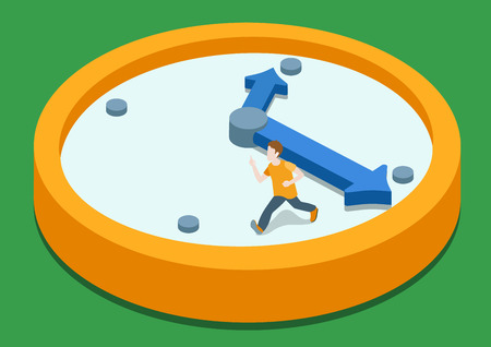 time run away: Time rush flat 3d web isometric infographic concept vector. Business man running away on clock from big hand. Creative people collection.