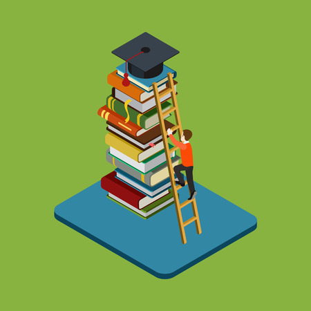 colleges: Flat 3d web isometric education graduation infographic concept vector. Man figure climbs on ladder over heap of books to reach graduate cap. Gain knowledge result, university  college classes.