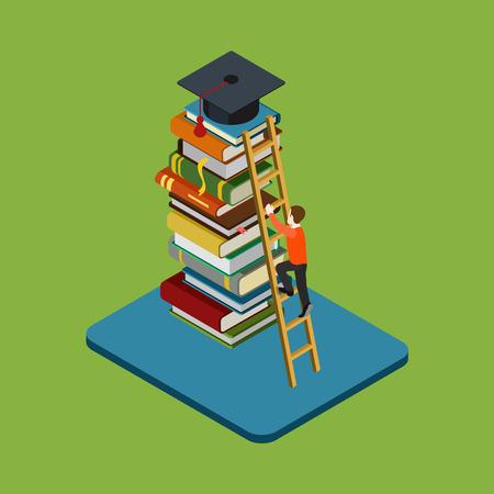 graduado: Piso 3d web graduación de educación isométrica concepto infografía vector. La figura del hombre se sube en la escalera sobre el montón de libros para llegar casquillo graduado. Ganancia clases consecuencia, la universidad  colegio conocimiento.