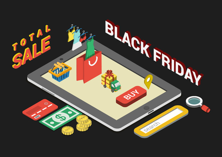 Flat 3d web isometric black friday sale infographic concept vector. Mobile tablet interface buy button, search field, credit card, money, dollar banknote, coins, clothes on hangers, shopping cart, bag Illusztráció