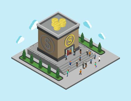 Banco dinero finanzas plana 3d web isométrica bancario infografía concepto monetaria vectorial. La gente camina al edificio del banco cúbico. Préstamos, crédito y servicios financieros. Colección de la gente creativa.