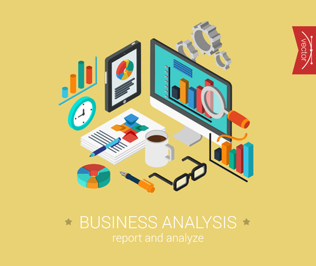 Business analyse rapport en analyseren van platte 3d isometrische pixel art modern design concept vector iconen samenstelling collage. Web banners illustratie website klik infographics. Stock Illustratie