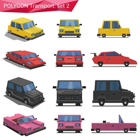 cabrio: Polygonal style vehicles vector icon set. Yellow car, sport car, van, cabriolet.  Polygon transport collection. Illustration