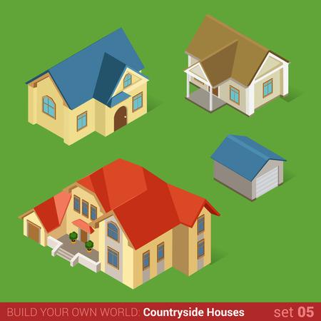 silhouette maison: L'architecture des maisons de campagne classiques bâtiments icône plat 3d isométrique web illustration vector set. Maison chalet en maison et garage. Construisez votre propre monde web collection infographique.