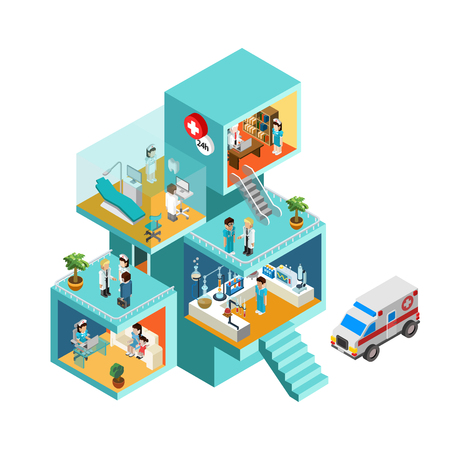medico caricatura: Edificio del hospital con la gente plana 3d web isométrica vector de concepto de infografía. habitaciones isométricas con los trabajadores del personal de personas, médicos, enfermeras, ambulancias. Colección de la gente creativa.