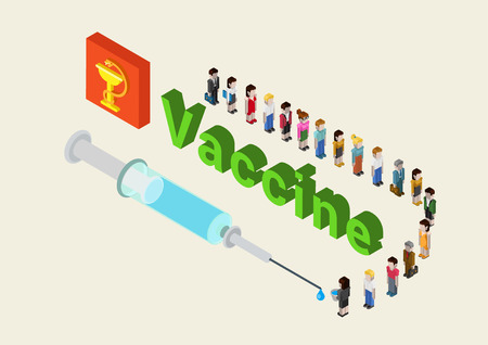 people in line: Flat 3d isometric medical vaccine, cure research, addiction, vaccination web infographic concept vector. Line of cartoon characters people waiting for their portion of vaccine from the syringe. Illustration