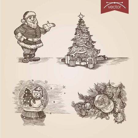 Christmas Santa New Year handdrawn engraving style template poster banner print web site pen pencil crosshatch hatching paper painting retro vintage vector lineart illustration.