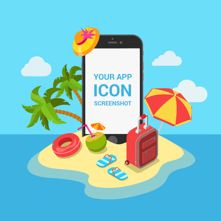 여행 모바일 앱의 모형 쇼케이스 평면 3D 아이소 메트릭 템플릿 일러스트