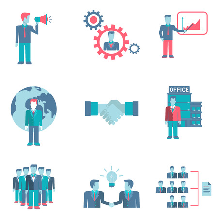 negotiations: Flat style partnership staff workforce business people figures infographics user interface icons set presentation report speech chat negotiations idea teamwork isolated vector illustration collection. Illustration