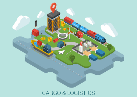 Flat 3d isometric cargo delivery logistics shipping business infographic concept vector. Container ship city port crane, road truck, train railroad cistern, mark point, hands on touch screen tablet. Illustration
