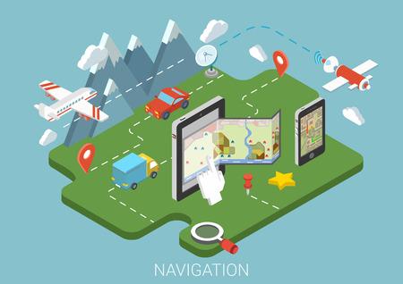 navegación: Mapa plano móvil GPS de navegación infografía concepto 3D isométrica. Tablet, teléfono, mapa de papel marcadores pin ruta digitales. Transmisor de señal del receptor de antena aérea van coche tierra por satélite avión de transporte.