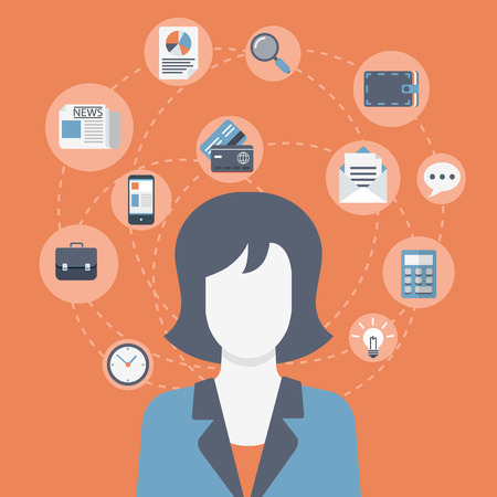 business woman: Flat style modern web businesswoman infographic icon collage. Vector illustration of business woman in suit with activity lifestyle, work duties, responsibility icons. Finance, time management concept