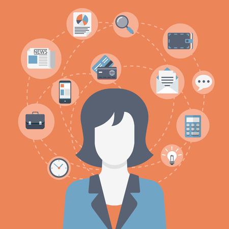 Vlakke stijl moderne web zakenvrouw infographic pictogram collage. Vector illustratie van zakelijke vrouw in pak met activiteit levensstijl, werk taken, verantwoordelijkheid pictogrammen. Financiën, time management concept