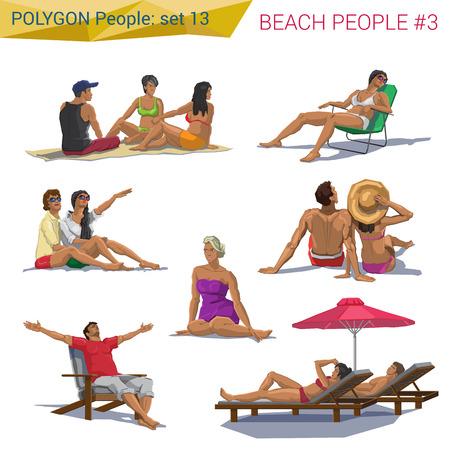 sentarse: Gente de playa estilo poligonales descansando establecen. Personas colección Polígono. Vectores