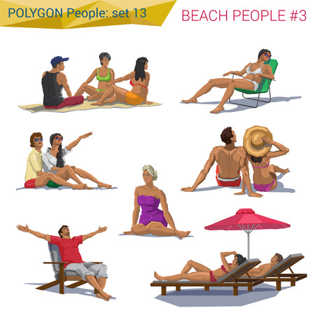 sit: Polygonal style beach people resting set. Polygon people collection.
