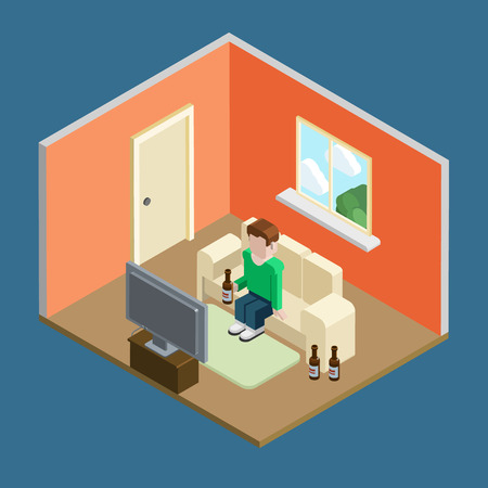 watch tv: Lifestyle flat 3d isometric casual home leisure. Man in living room interior sitting on couch watch tv and drinks beer. Isometric lifestyle conceptual collection.