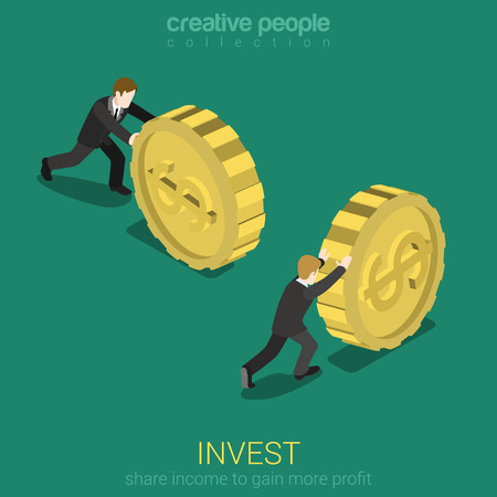 moneymaker: Money invest flat 3d web isometric infographic concept vector. Businessman rolling gold dollar coin. Monetary finance conceptual. Creative people collection.
