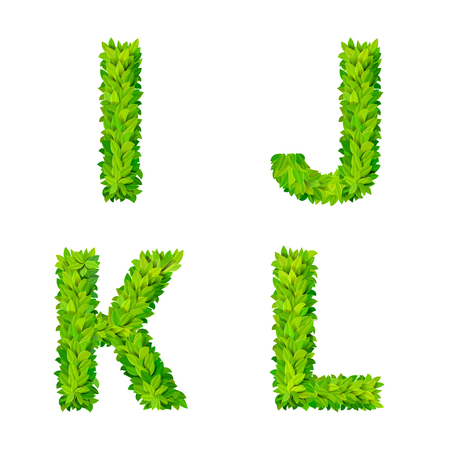 ABC grass leaves letter number elements modern nature placard lettering leafy foliar deciduous vector set. I J K L leaf leafed foliated natural letters latin English alphabet font collection.