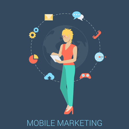 todo: Flat style modern mobile marketing business strategy infographic concept. Conceptual web illustration young woman girl map touch tablet gamification chat call mail email global messaging support.