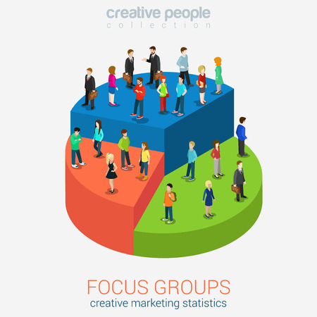 focus: Social marketing focus groups statistics flat 3d web isometric infographic concept vector. Micro casual men women standing on different pieces of pie graphic chart. Creative people collection.