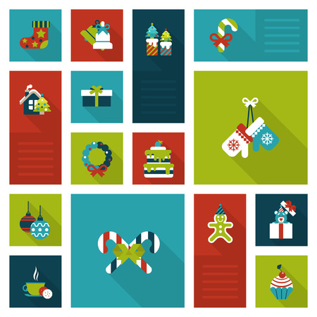 Creative winter holidays objects ans items: wreath, hanging sock, gloves, cake, gingerbread man. Christmas and New Year flat style decorations and labels icon set. Collection of holiday web icons.